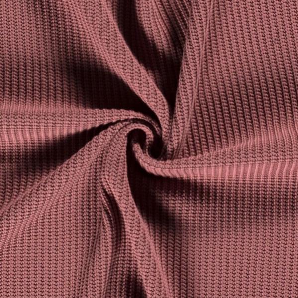 Grober Baumwoll-Strickstoff mauve