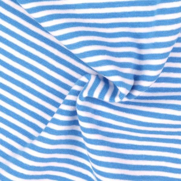Ringelbündchen türkisblau-weiß gestreift