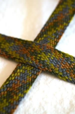 breite, flache Kordel, Multicolor, grün-braun-blau *SALE*