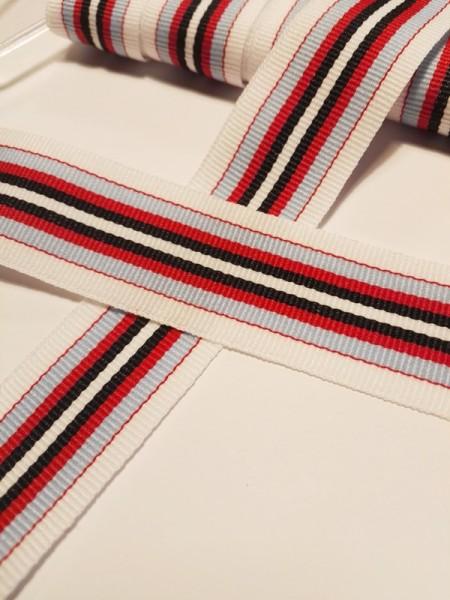 Streifen, weiß-blau-rot, Ripsband