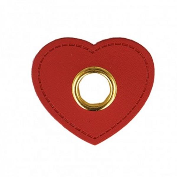 Kunstleder Ösenpatch, Herz 10 mm Ø, rot/gold