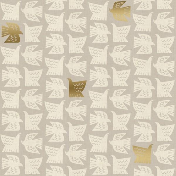 Cotton+Steel, Kibori, Paper Birds helles taupe, Baumwollstoff