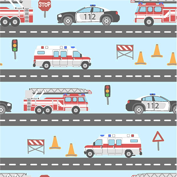 Rettungsautos auf der Straße, hellblau, Jersey