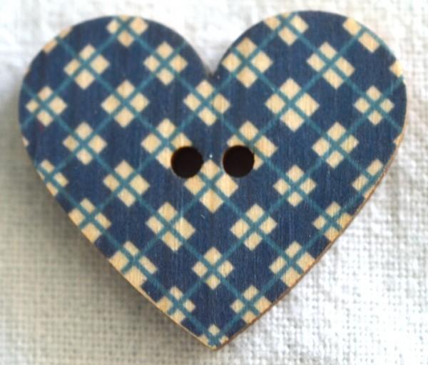 Herz, blau kariert, Holzknopf