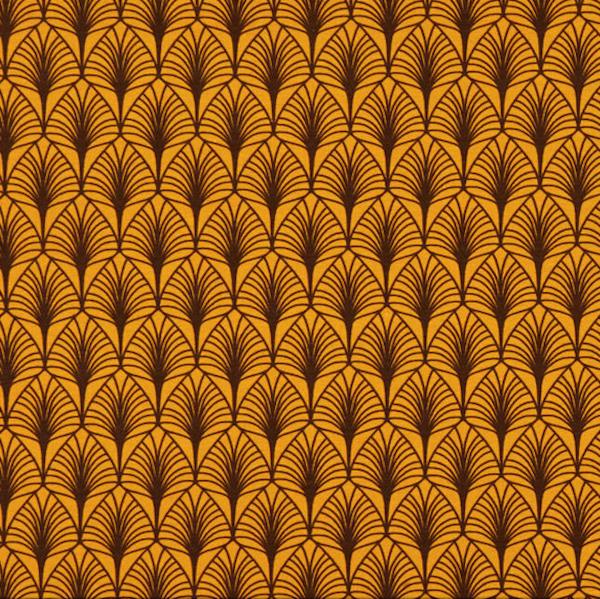 Laminat/Wachstuch, Palmblätter senf