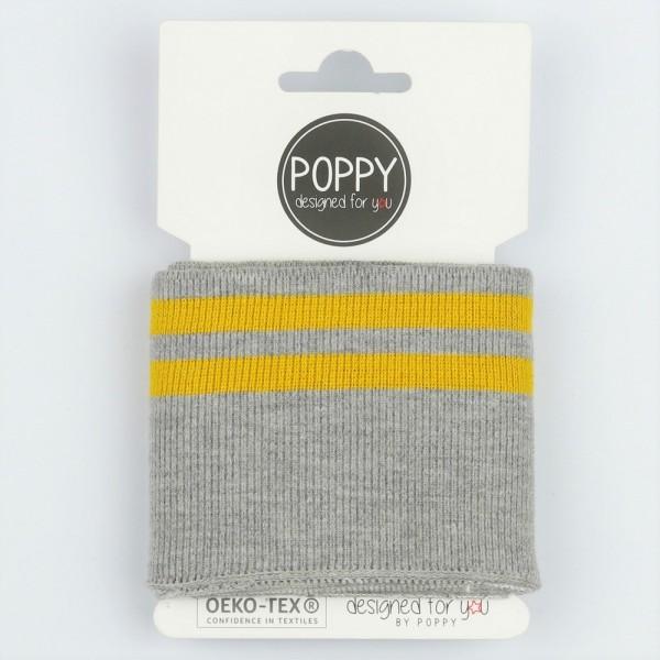 Poppy, Strickbündchen Stripes, grau-meliert/senf, 135 cm