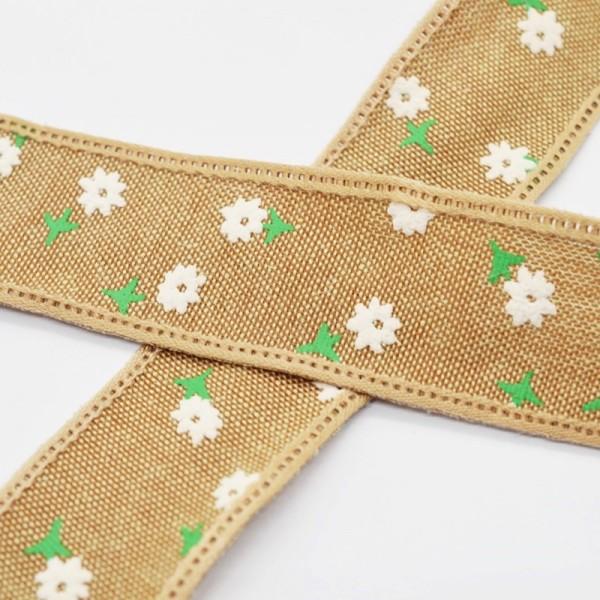 Blumen und Blätter, mittelbraun, Baumwollband
