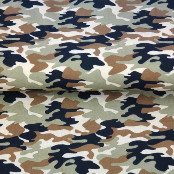 Baumwollpopeline, Camouflage army, waschbar bei 60°