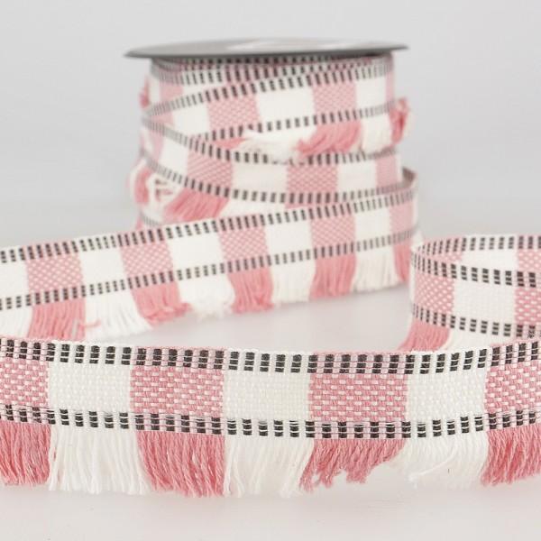 Streifenfransenborte, rosa