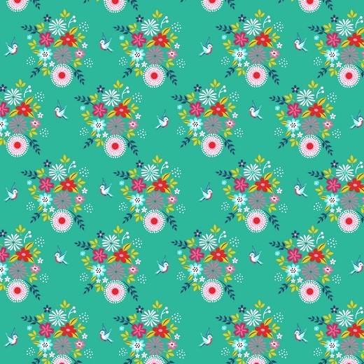 Birdy Flowers Blumen türkis, Baumwoll-Popeline bei 60° waschbar