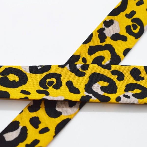 Schrägband, Animal print, senf