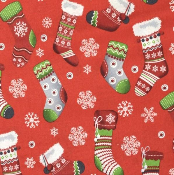 Rudi, Weihnachtssocken auf rot, Baumwollstoff