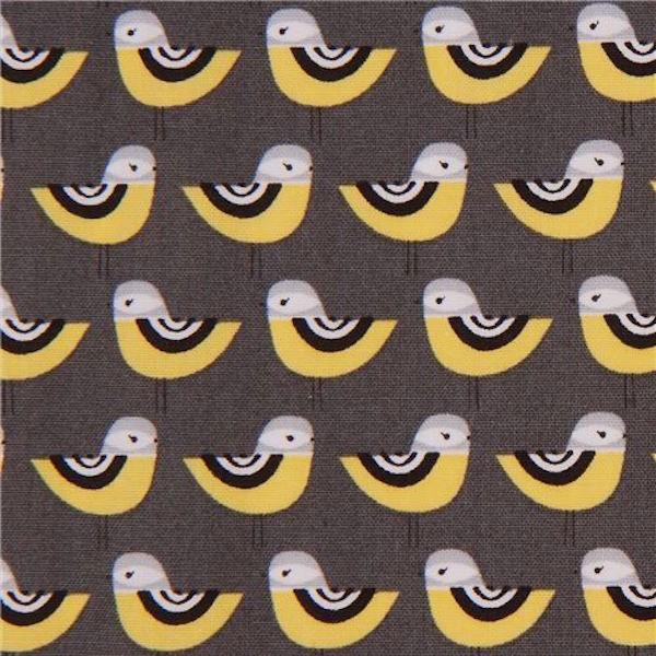 R. Kaufman, Vogelkette auf grau, Webstoff