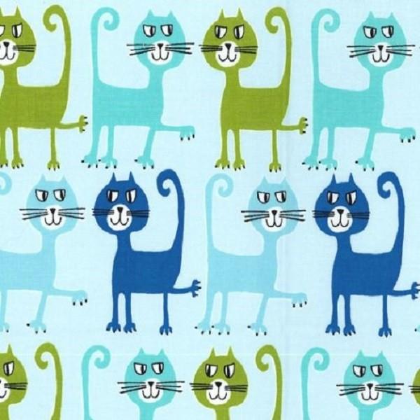 R. Kaufman, Katzen auf hellblau, Webstoff