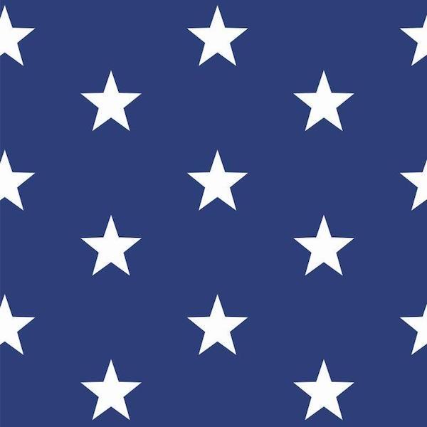 Lili Big Star weiß auf dunklem royalblau, Webstoff, waschbar bei 60°