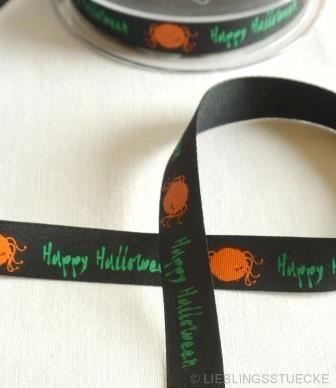 Happy Halloween, schwarz-grün, Stoffband
