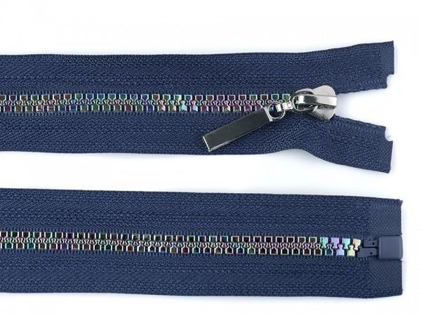 Reißverschluss mit Regenbogenspirale, 5 mm, dunkelblau, teilbar