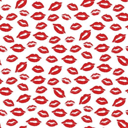 Rote Lippen weiß, Baumwolllstoff, waschbar bei 60°
