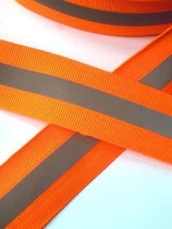 reflektierendes Ripsband, orange, breit
