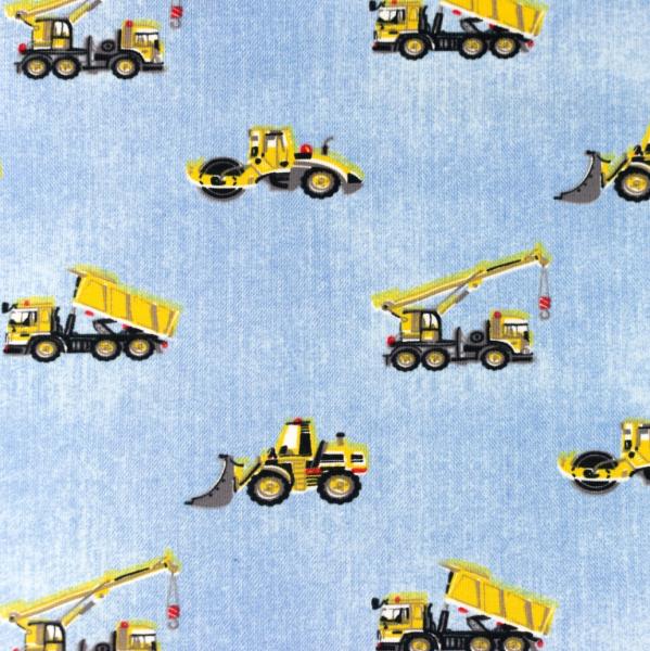 Baufahrzeuge auf hellem jeans-meliert, Jersey