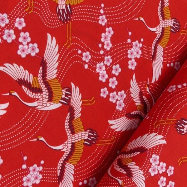 Kraniche auf rot, Webstoff
