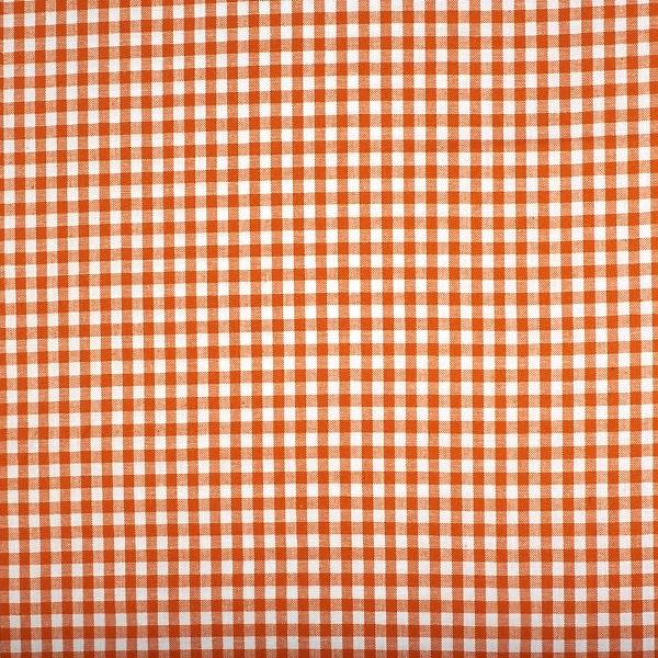 Vichykaro, klein orange-weiß kariert, waschbar bei 60°