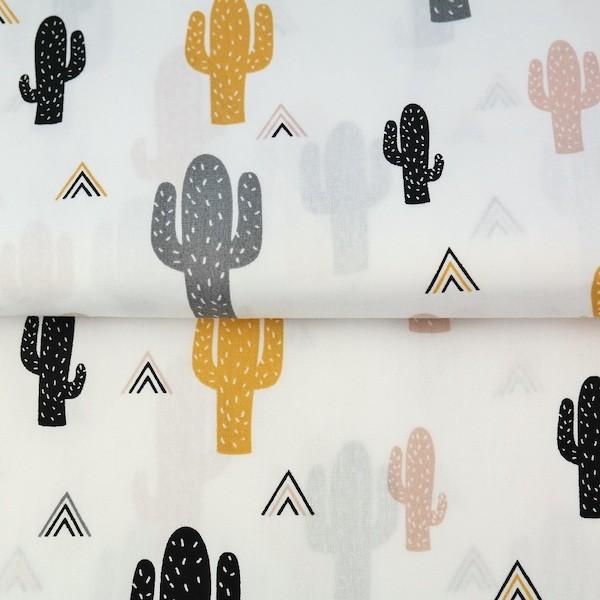 Stenzo Kaktus senf auf weiß, Popeline, *Letztes Stück ca. 110 cm*