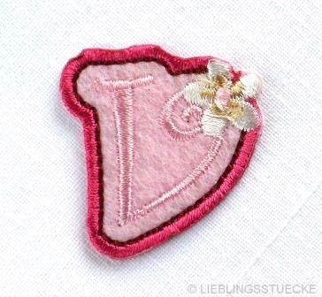 Applikation Buchstabe v, rosa