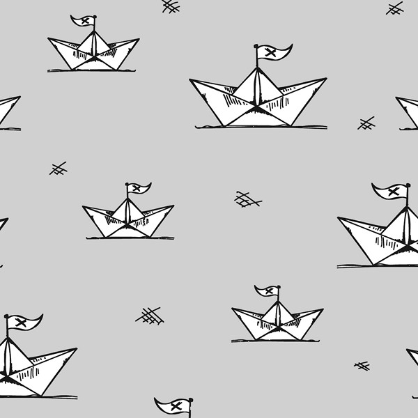 Paperboats hellgrau, Bio-Jersey, *Letztes Stück ca. 100 cm*