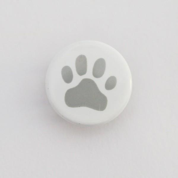 Druckknopf, Pfote grau auf weiß, 10 mm