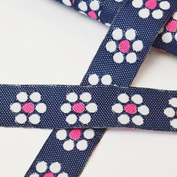 Jeansband mit Blumen, pink