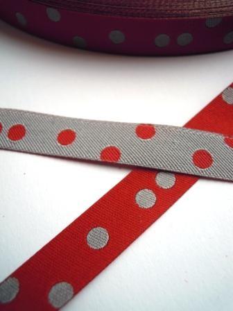 Punkteband, rot-grau, Webband beidseitig