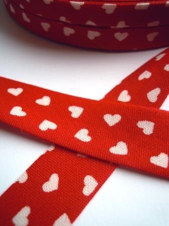 Westfalen Schrägband, rot mit weißen Herzen