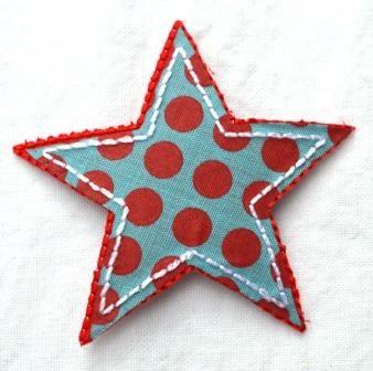 Applikation Stern, rot-blau gepunktet