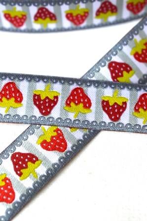 Erdbeeren auf Streifen, grau, Webband