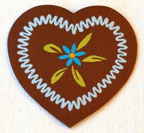 Applikation Herz mit Blume, hellblau