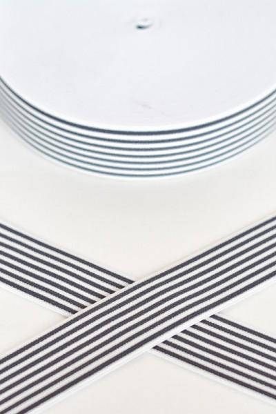 Gummiband breit, Streifen dunkelgrau-weiß