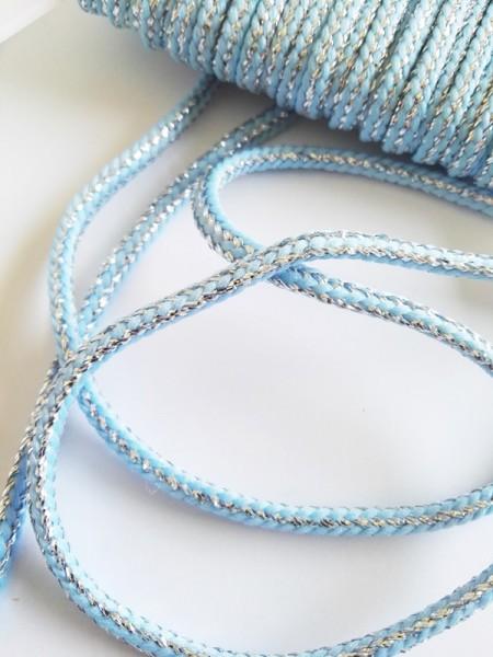 Glitzerflechtkordel, hellblau-silber