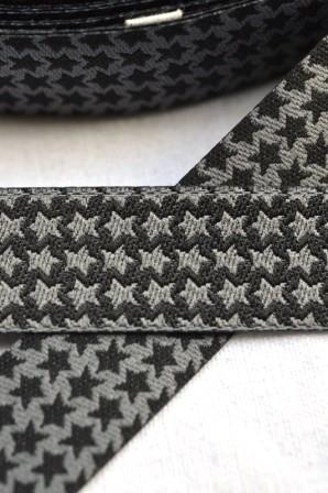 Staaars, grau-schwarz, Webband beidseitig