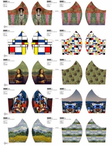 NEU! Maskenstoff Digitaldruck Mona Lisa&Co für 10 Masken, Paneel, Baumwollstoff
