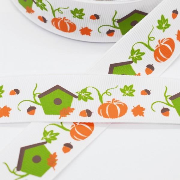 Ripsband, Halloween Kürbisse mit Vogelhäuschen auf weiß