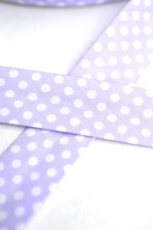 Schrägband, gepunktet, weiß auf flieder