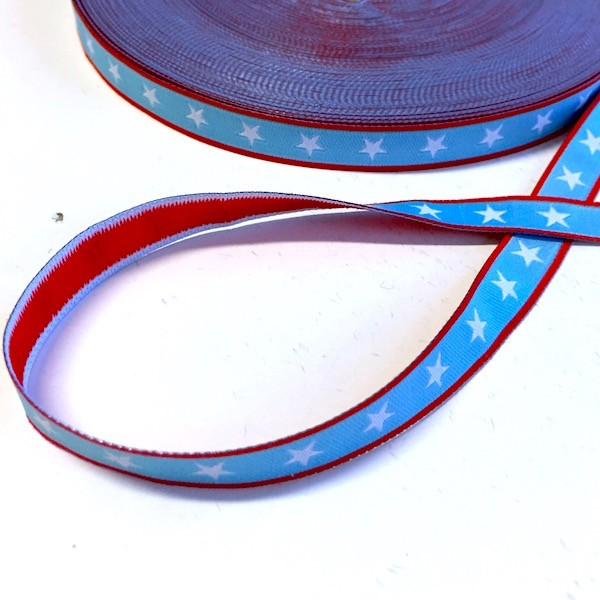 Sterneband, hellblau-rot, Webband