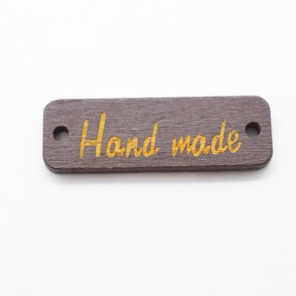 Label aus Holz, handmade, rechteckig, dunkelbraun