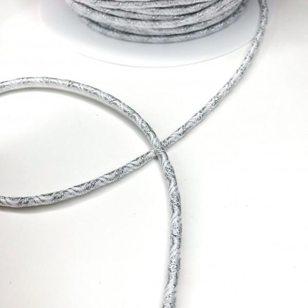 Gummikordel WAVE, weiß-silber