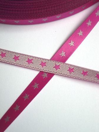 schmales Sternchenband, pink-silber, Webband beidseitig