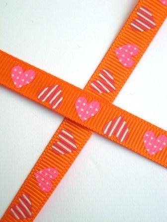 Herzen, gepunktet und gestreift, orange, Ripsband schmal *SALE*