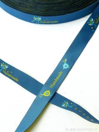 Handmade Blattwerk, dunkelblau, Webband