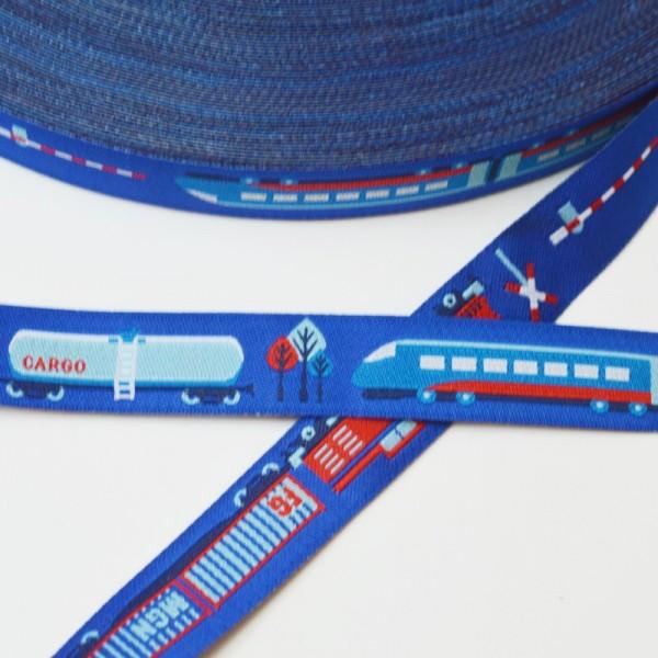 Mit der Eisenbahn, blau, Webband