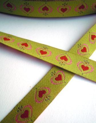 Hearts, grün, Webband *SALE*